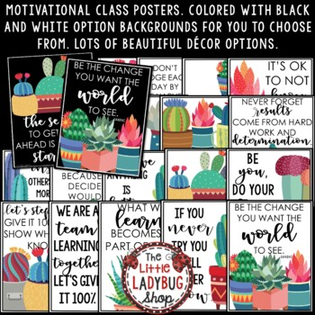 Inspirational Quotes - Boho Cactus Theme Classroom Decor Motivational Posters