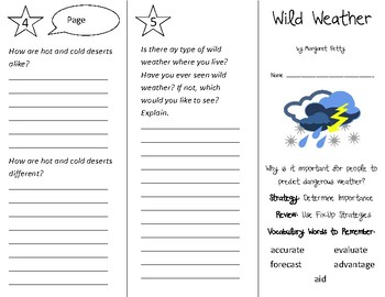 Wild Weather Trifold - 3rd Grade Literacy by Design Theme 8