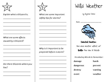 Wild Weather Trifold - Wonders 2nd Grade Unit 3 Week 4