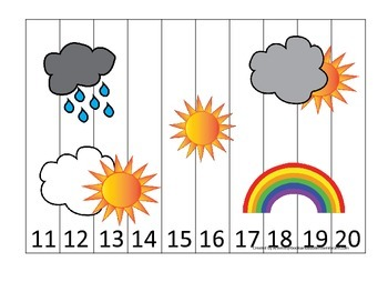 Wild Weather themed 11-20 Number Puzzle preschool learning activity.  Homesc