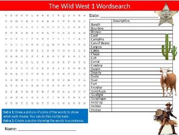 Wild West #1 Wordsearch Sheet Starter Activity Keywords American History