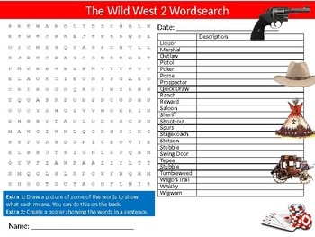 Wild West #2 Wordsearch Sheet Starter Activity Keywords American History
