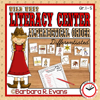 ALPHABETICAL ORDER LITERACY CENTER Wild West Theme Differentiated
