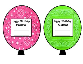 Wild West Birthday Balloons Pink/Green