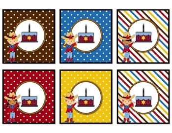 Wild West Calendar Numbers (Polka Dots & Stripes