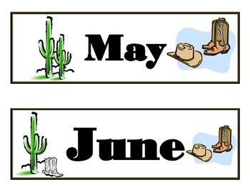 Wild Western Calendar! Cowboy Calendar! Wild Western Cowboy Theme!