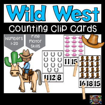 Wild West Count and Clip Number Cards