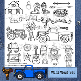 Wild West - Country life Line Art - Western - Cowboy