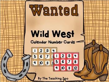 Wild West Cowboy Theme Calendar Number Cards