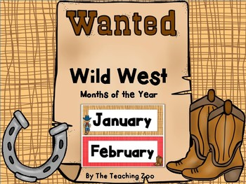 Wild West Cowboy Theme Months of the Year Signs