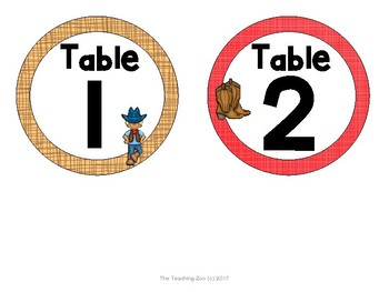 Wild West Cowboy Theme Table Numbers
