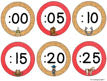 Wild West Cowboys Theme Clock Tags & Labels