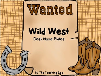 Wild West Cowboys Theme Desk Name Plates