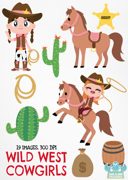 Wild West Cowgirls Clipart, Instant Download Vector Art, Commercial Use Clip Art