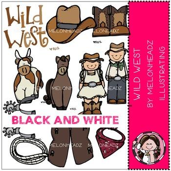 Wild West clip art - BLACK AND WHITE - by Melonheadz