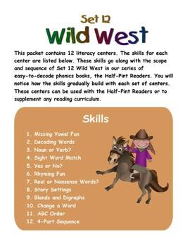 Wild West Literacy Centers: Half-Pint Readers Set 12