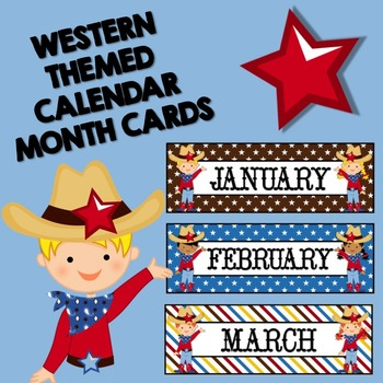 Wild West Monthly Calendar Labels (Stars & Stripes)