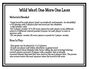 Wild West One More One Less Board Game (addition & subtraction)
