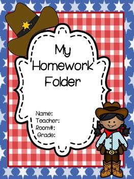 Wild West Themed Homework Folders