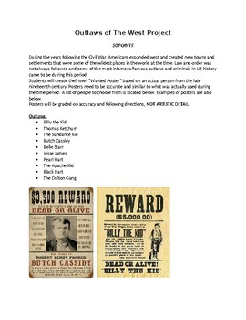 Wild West Wanted Poster Project