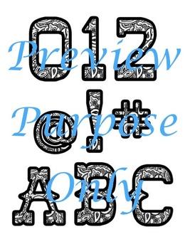 Wild West - Western Themed Black and White Bandana Alphabet Graphic Set