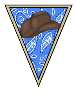 Wild West - Western Themed Blue Pennant Banner II