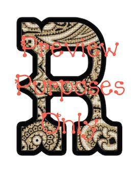 Wild West - Western Themed Brown Bandana Alphabet Graphic Set