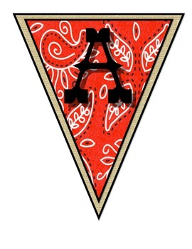 Wild West - Western Themed Red Pennant Banner II
