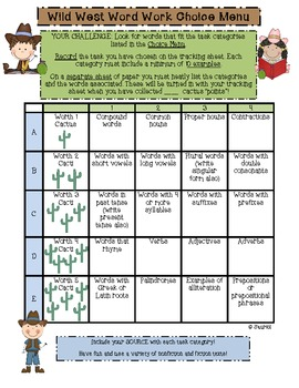 Wild West Word Work: A Choice Menu for ELA Literacy Stations & More