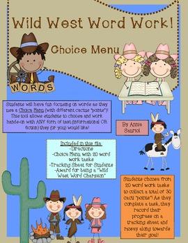 Wild West Word Work: A Choice Menu for ELA Literacy Statio