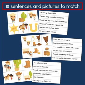 Wild West Sentence Picture Match Reading Center
