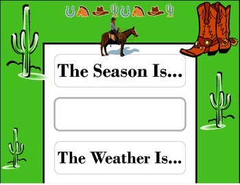 Wild Western Weather Chart! Western Bulletin Board! Western Theme Decor!