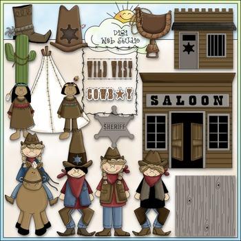 Wild, Wild West Clip Art Bundle - Cowboys / Indians - 2 Clip Art & B&W Sets