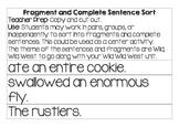 Wild Wild West Fragment & Complete Sentence Sort