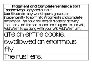 Wild Wild West Fragment & Complete Sentence Sort