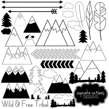 Wild and Free Digital Clip art Digital Graphics -Commercial Use
