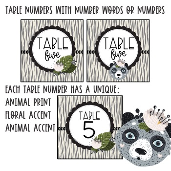 Jungle Safari Table Number Signs and Labels