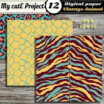Wild animal DIGITAL PAPERS - Safari scrapbooking - Vintage colors
