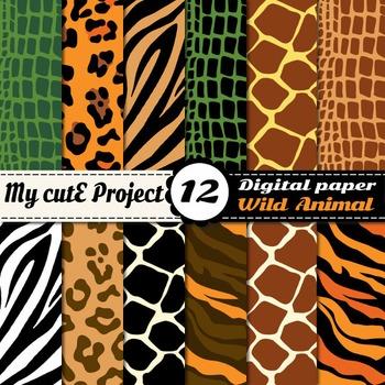 22c6a79590 Wild animal Digital Paper - Safari Scrapbooking - Animal prints