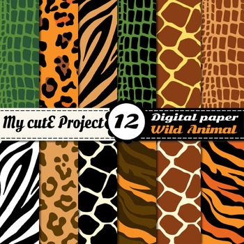 Wild animal Digital Paper - Safari Scrapbooking - Animal prints