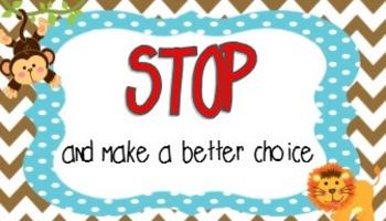 Wild animal Safari classroom: Stop and make a better choice cards