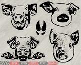 Wild boar Head Silhouette SVG Pig cut layer feet pigs boars Farm mascot 824S