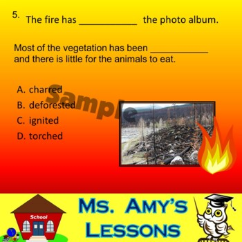 NATURAL DISASTERS: WildFire Vocabulary Quiz PowerPoint Presentation