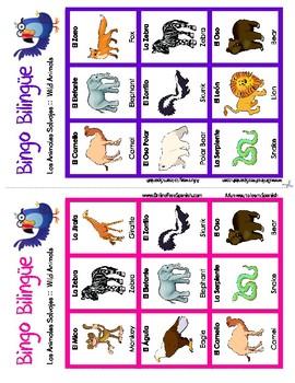 Wild animals - Los animales salvajes - Bingo Bilingüe - Bilingual bingo