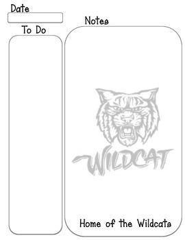 Wildcat mascot To Do, note taking sheet