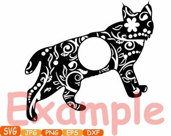 Wildcats Circle Frames Jungle Animal Safari cat cats SVG school Clipart zoo 376s
