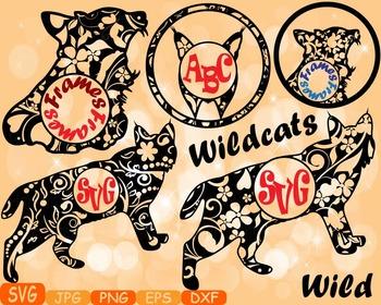 Wildcats Circle Frames Jungle Animal Safari cat cats SVG s