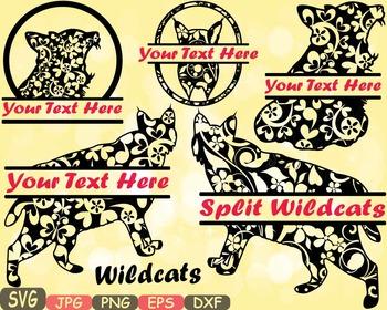Wildcats Split Jungle Animal Safari cat cats SVG school Clipart zoo mascot 407s