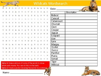 Wildcats Wordsearch Sheet Starter Activity Keywords Cover Animals Cats