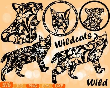 Wildcats cat cats mascot Jungle Animal Safari Flower SVG s